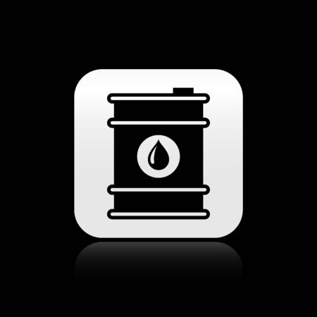 Black Barrel oil icon isolated on black background. Silver square button. Vector Illustration Ilustracja