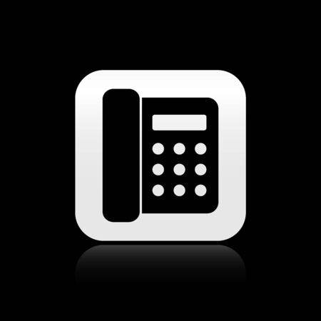Black Telephone icon isolated on black background. Landline phone. Silver square button. Vector Illustration
