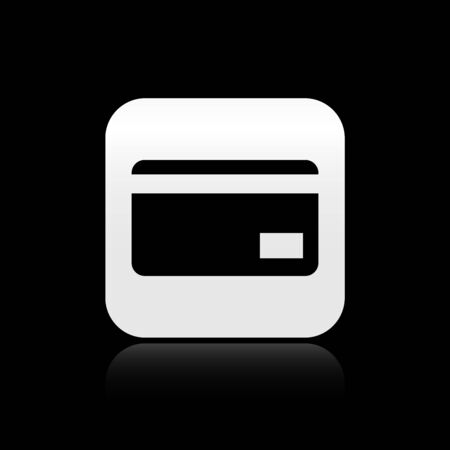 Black Credit card icon isolated on black background. Online payment. Cash withdrawal. Financial operations. Shopping sign. Silver square button. Vector Illustration