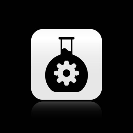 Black Bioengineering icon isolated on black background. Element of genetics and bioengineering icon. Biology, molecule, chemical icon. Silver square button. Vector Illustration