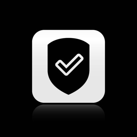 Black Shield with check mark icon isolated on black background. Protection symbol. Security check Icon. Tick mark approved icon. Silver square button. Vector Illustration
