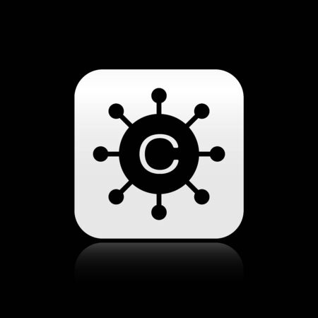 Black Copywriting network icon isolated on black background. Content networking symbol. Copyright sign. Copywriting network sign. Silver square button. Vector Illustration
