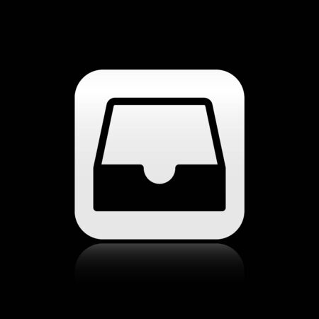 Black Social media inbox icon isolated on black background. Social network element, symbol. Silver square button. Vector Illustration