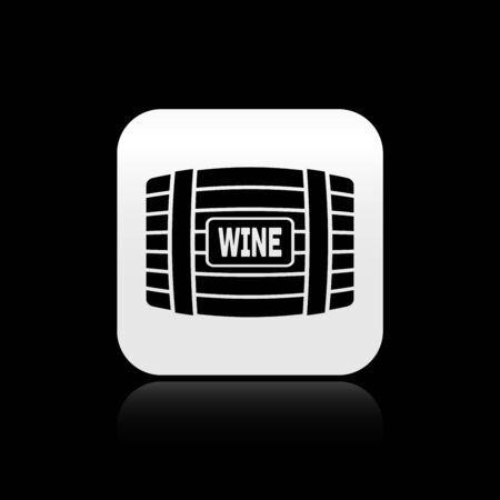 Black Wooden barrel for wine icon isolated on black background. Silver square button. Vector Illustration Illustration