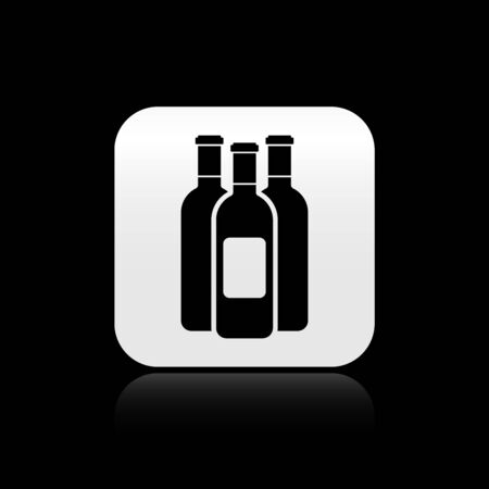 Black Bottles of wine icon isolated on black background. Silver square button. Vector Illustration