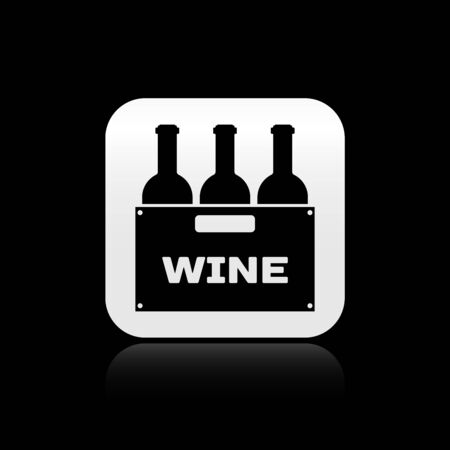 Black Bottles of wine in a wooden box icon isolated on black background. Wine bottles in a wooden crate icon. Silver square button. Vector Illustration Illustration