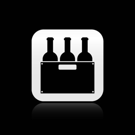 Black Bottles of wine in a wooden box icon isolated on black background. Wine bottles in a wooden crate icon. Silver square button. Vector Illustration Ilustracja
