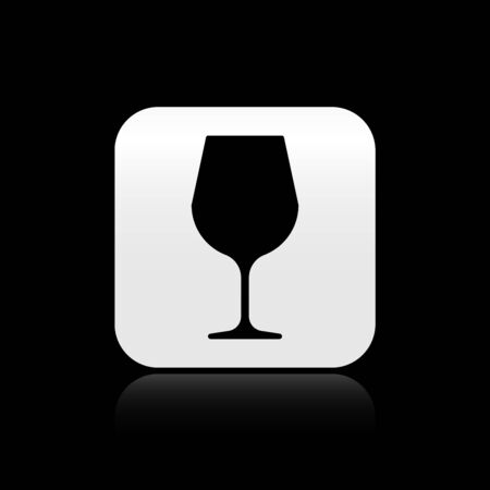 Black Wine glass icon isolated on black background. Wineglass sign. Silver square button. Vector Illustration  イラスト・ベクター素材