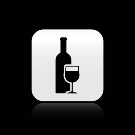 Black Wine bottle with wine glass icon isolated on black background. Silver square button. Vector Illustration