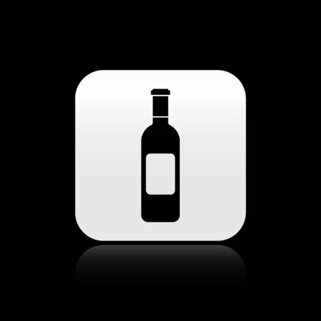 Black Bottle of wine icon isolated on black background. Silver square button. Vector Illustration