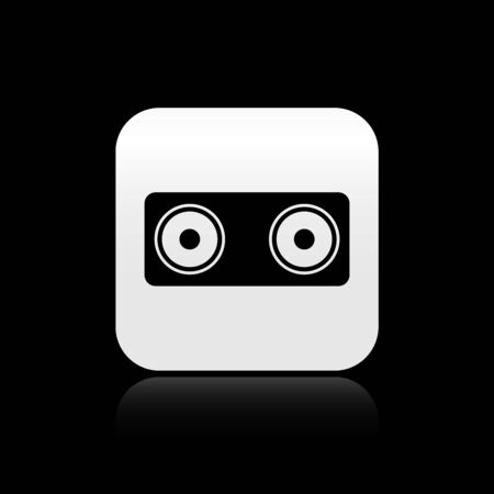 Black Stereo speaker icon isolated on black background. Sound system speakers. Music icon. Musical column speaker bass equipment. Silver square button. Vector Illustration