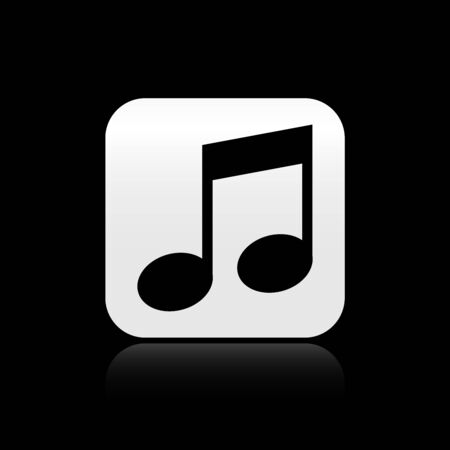 Black Music note, tone icon isolated on black background. Silver square button. Vector Illustration Ilustração