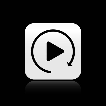 Black Video play button like simple replay icon isolated on black background. Silver square button. Vector Illustration