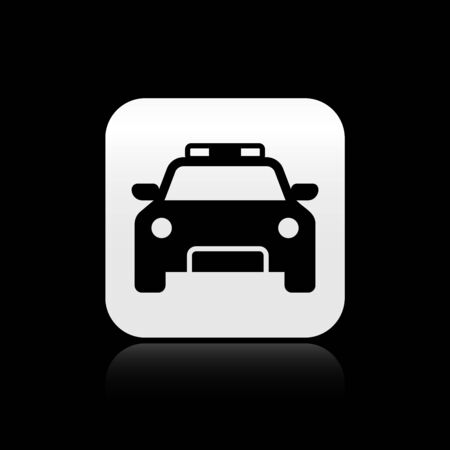 Black Police car and police flasher icon isolated on black background. Emergency flashing siren. Silver square button. Vector Illustration