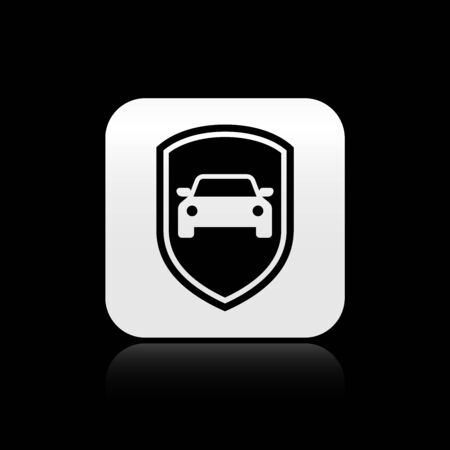 Black Car protection or insurance icon isolated on black background. Protect car guard shield. Safety badge vehicle icon. Security auto label. Silver square button. Vector Illustration Illusztráció
