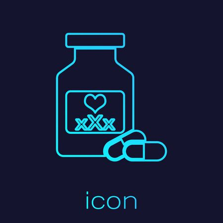 Turquoise line Medicine bottle with pills for potency, aphrodisiac icon isolated on blue background. Sex pills for men and women. Vector Illustration
