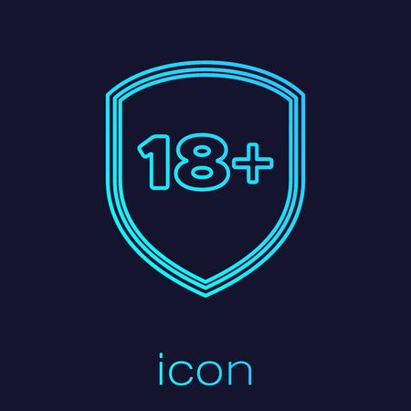 Turquoise line Shield with inscription 18 plus icon isolated on blue background. Adults content only. Protection, safety, security, protect concept. Vector Illustration