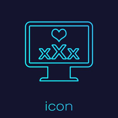 Turquoise line Computer monitor with 18 plus content heart icon isolated on blue background. Age restriction symbol. XXX content sign. Adult channel. Vector Illustration