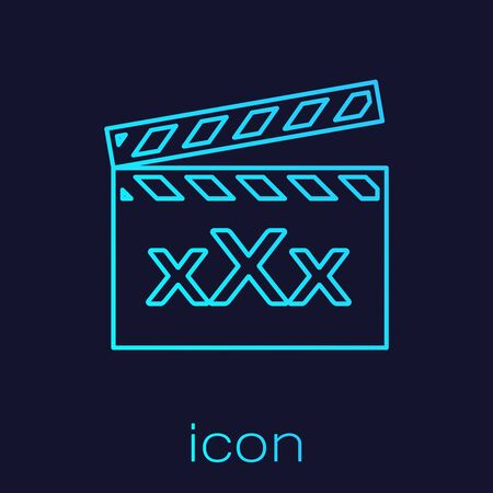Turquoise line Movie clapper with inscription XXX icon isolated on blue background. Age restriction symbol. 18 plus content sign. Adult channel. Vector Illustration