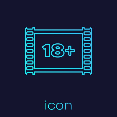 Turquoise line Play Video with inscription 18 plus icon isolated on blue background. Age restriction symbol. 18 plus content sign. Adult channel. Vector Illustration