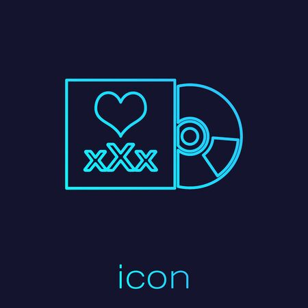 Turquoise line Disc with inscription XXX icon isolated on blue background. Age restriction symbol. 18 plus content sign. Adult channel. Vector Illustration  イラスト・ベクター素材