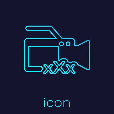 Turquoise line Video camera with inscription XXX icon isolated on blue background. Age restriction symbol. 18 plus content sign. Adult channel. Vector Illustration