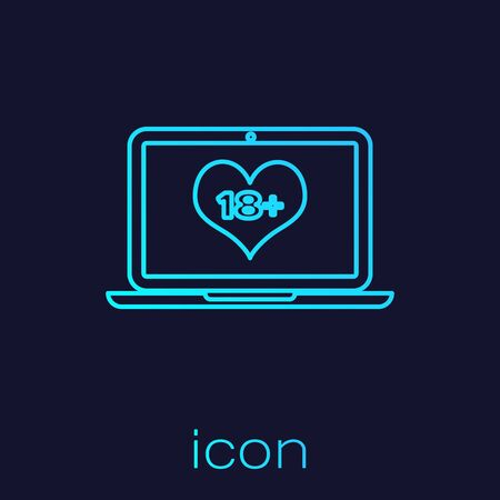Turquoise line Laptop computer with 18 plus content heart icon isolated on blue background. Age restriction symbol. 18 plus content sign. Adult channel. Vector Illustration