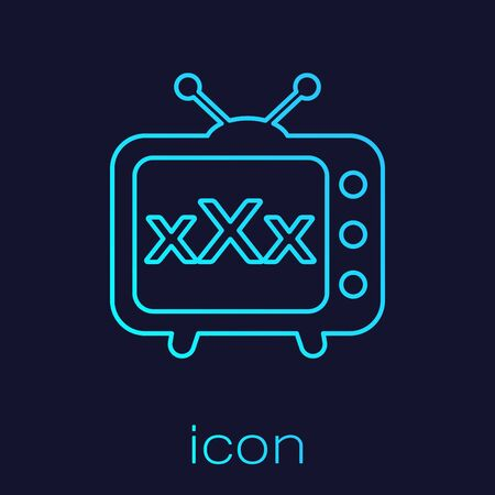 Turquoise line XXX tv old television icon isolated on blue background. Age restriction symbol. 18 plus content sign. Adult channel. Vector Illustration