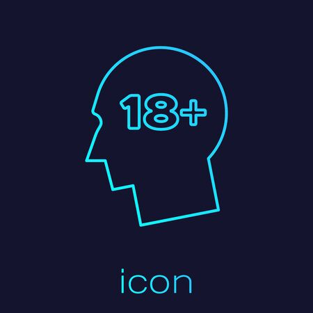 Turquoise line Human head with inscription 18 plus icon isolated on blue background. 18 plus content sign. Adults content only icon. Vector Illustration Ilustracja