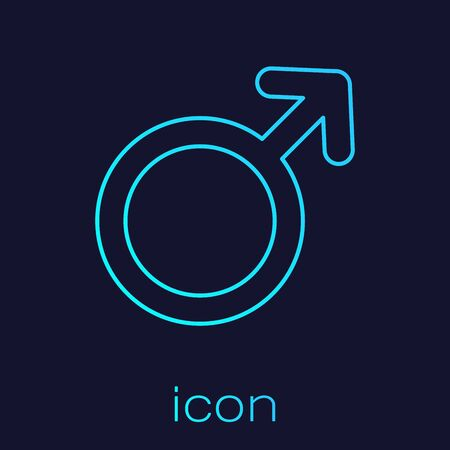Turquoise line Male gender symbol icon isolated on blue background. Vector Illustration