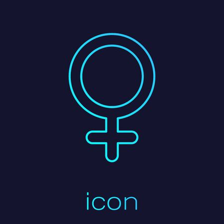 Turquoise line Female gender symbol icon isolated on blue background. Venus symbol. The symbol for a female organism or woman. Vector Illustration