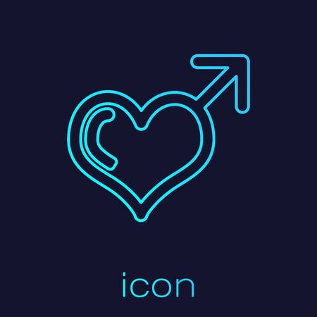 Turquoise line Male gender symbol and heart icon isolated on blue background. Vector Illustration 일러스트
