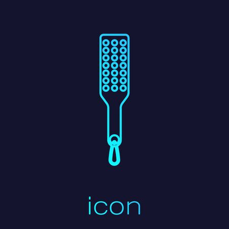Turquoise line Spanking paddle icon isolated on blue background. Fetish accessory. Sex toy for adult. Vector Illustration