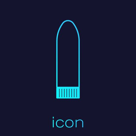 Turquoise line Dildo for games icon isolated on blue background. Sex toy for adult. Vaginal exercise machines for intimate. Vector Illustration