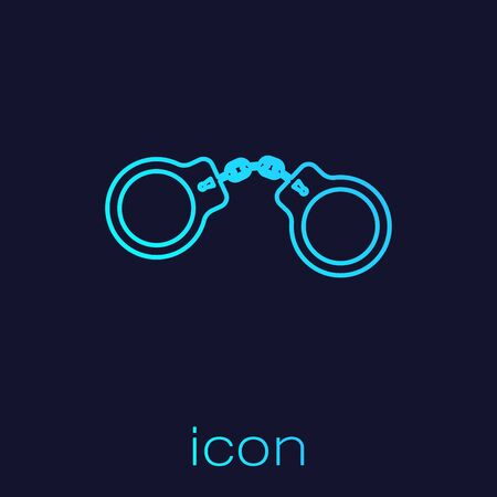 Turquoise line Handcuffs icon isolated on blue background. Vector Illustration Ilustração