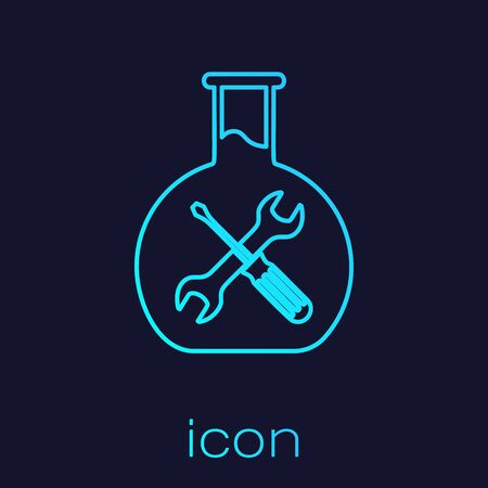 Turquoise line Bioengineering with screwdriver and wrench icon isolated on blue background. Adjusting, service, setting, maintenance, repair, fixing. Vector Illustration Ilustração