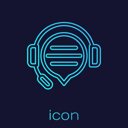 Casque ligne turquoise avec icône de chat bulle isolé sur fond bleu. Support service client, hotline, centre d'appels, faq, maintenance. Illustration vectorielle Vecteurs