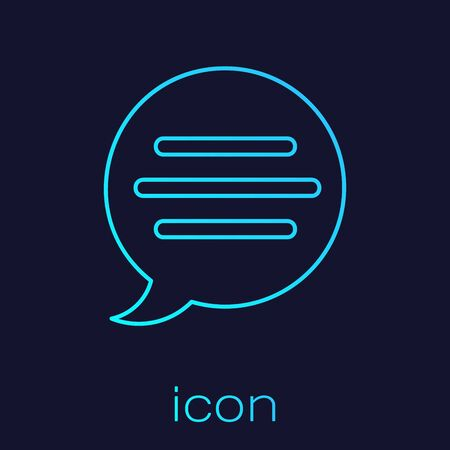 Turquoise line Speech bubble chat icon isolated on blue background. Message icon. Communication or comment chat symbol. Vector Illustration