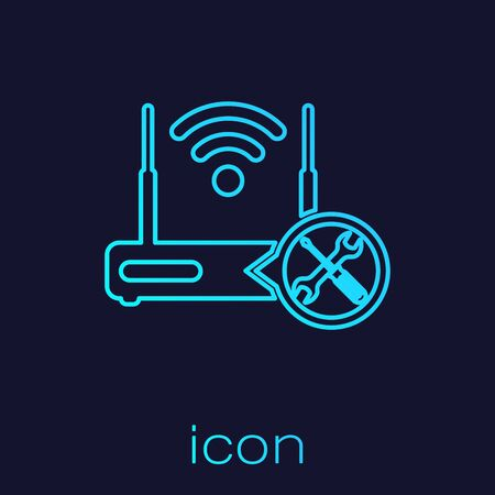 Turquoise line Router wifi with screwdriver and wrench icon isolated on blue background. Adjusting, service, setting, maintenance, repair, fixing. Vector Illustration  イラスト・ベクター素材