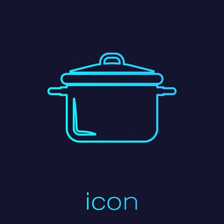 Turquoise line Cooking pot icon isolated on blue background. Boil or stew food symbol. Vector Illustration Illustration