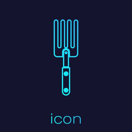 Turquoise line Garden fork icon isolated on blue background. Pitchfork icon. Tool for horticulture, agriculture, farming. Vector Illustration  イラスト・ベクター素材