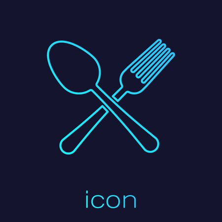 Turquoise line Crossed fork and spoon icon isolated on blue background. Cooking utensil. Cutlery sign. Vector Illustration