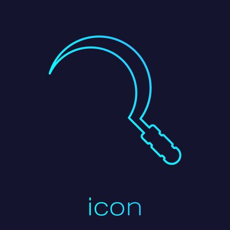 Turquoise line Sickle icon isolated on blue background. Reaping hook sign. Vector Illustration Stockfoto - 128606309