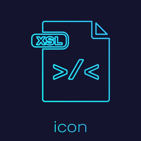 Turquoise line XSL file document. Download xsl button icon isolated on blue background. Excel file symbol. Vector Illustration