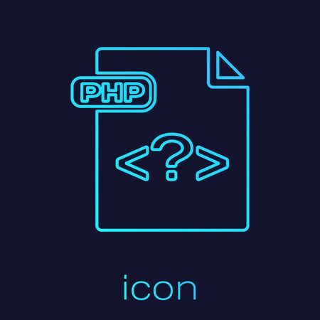 Turquoise line PHP file document. Download php button icon isolated on blue background. PHP file symbol. Vector Illustration