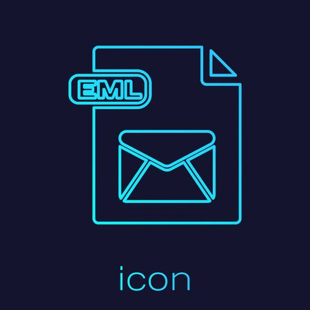 Turquoise line EML file document. Download eml button icon isolated on blue background. EML file symbol. Vector Illustration