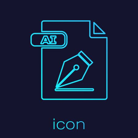 Turquoise line AI file document. Download ai button icon isolated on blue background. AI file symbol. Vector Illustration
