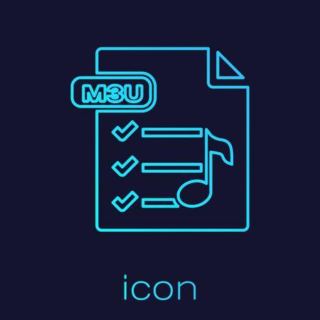 Turquoise line M3U file document. Download m3u button icon isolated on blue background. M3U file symbol. Vector Illustration Ilustração