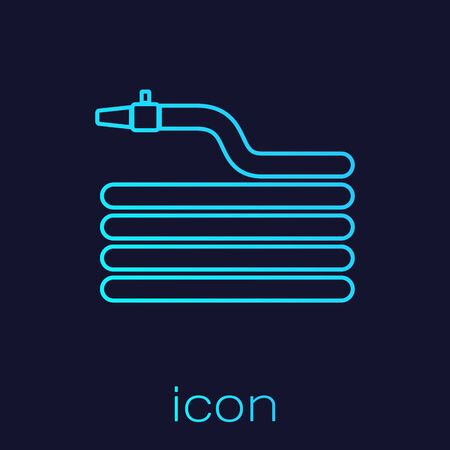 Turquoise line Garden hose or fire hose icon isolated on blue background. Spray gun icon. Watering equipment. Vector Illustration