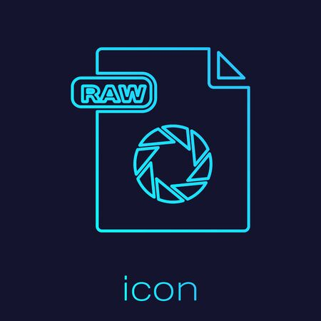 Turquoise line RAW file document. Download raw button icon isolated on blue background. RAW file symbol. Vector Illustration